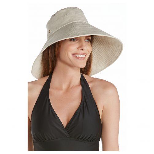 Coolibar---UV-flaphoed-voor-dames-met-brede-rand---Visgraat-naturel