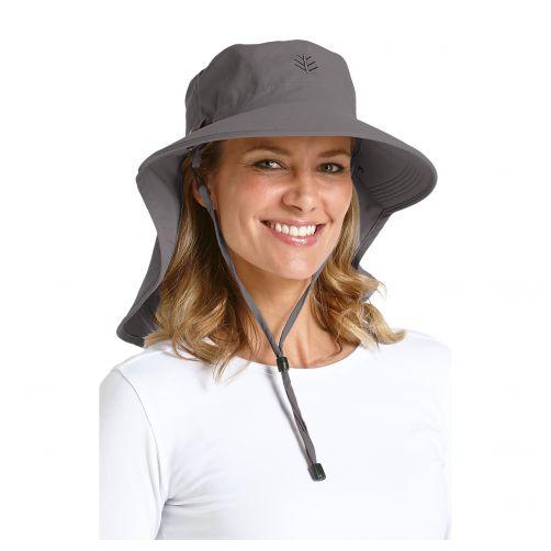 Coolibar---UV-zonnehoed-voor-dames-met-gezichtsmasker---Steenkoolgrijs