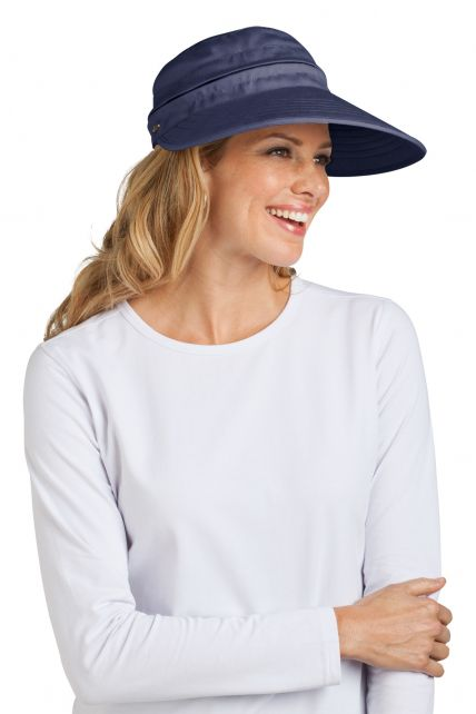 Coolibar---UV-beschermende-zonneklep-en-pet-in-één-dames---Donkerblauw