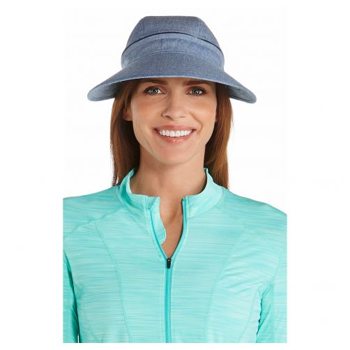Coolibar---Afritsbare-UV-zonneklep-voor-dames---Chambray-blauw