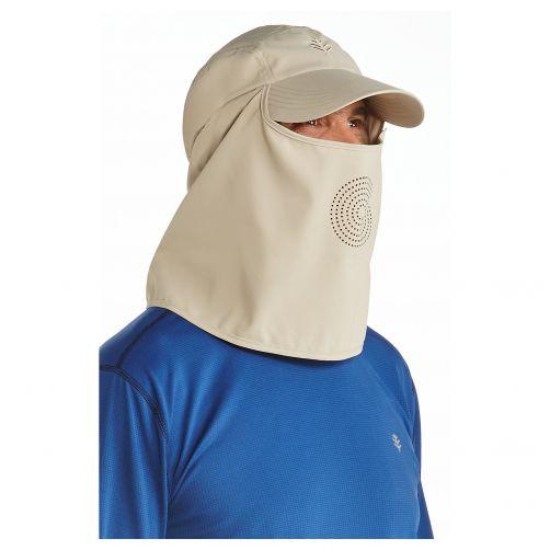 Coolibar---UV-zonnepet-met-hals--en-gezichtsbedekking---Geelbruin