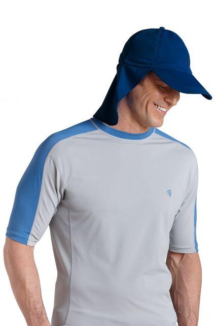 Coolibar---UV-unisex-zonnepet-met-flap---Donkerblauw