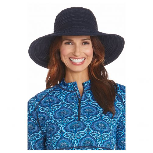 Coolibar---UV-flaphoed-voor-dames-met-lint---Navy-blauw