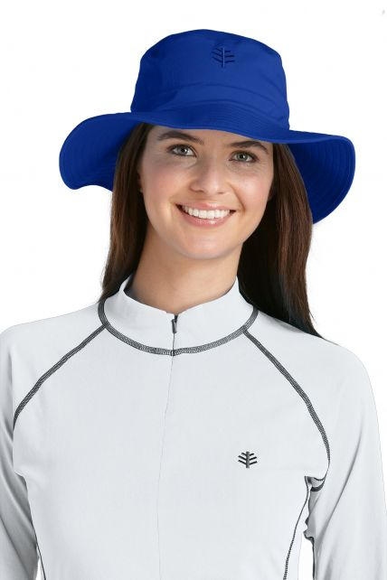 Coolibar---UV-bucket-hat-unisex---Kobalt-blauw