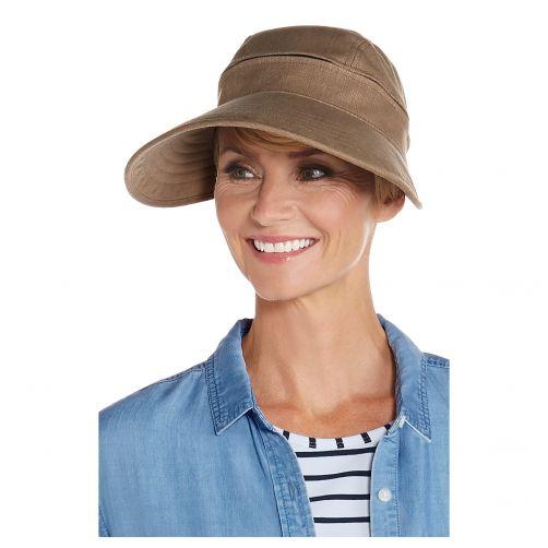 Coolibar---Afritsbare-UV-zonneklep-voor-dames---Champignonbruin
