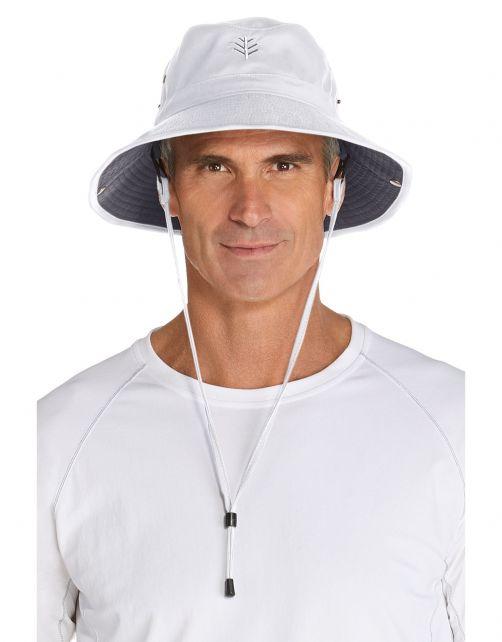 Coolibar---Lichtgewicht-UV-Bucket-Hoed-voor-heren---Chase---Wit/Carbon