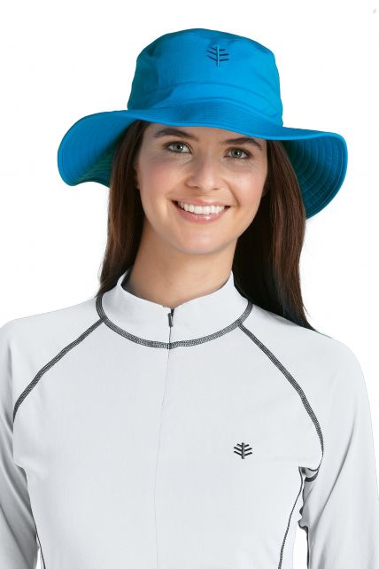 Coolibar---UV-strandhoed-voor-dames---Blauw