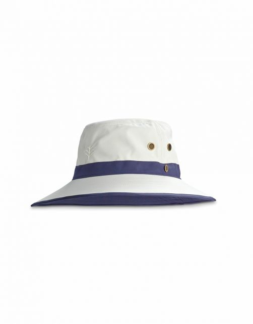 Coolibar---UV-Golfhoed-met-brede-rand-voor-volwassenen---Matchplay---Steen/Navy