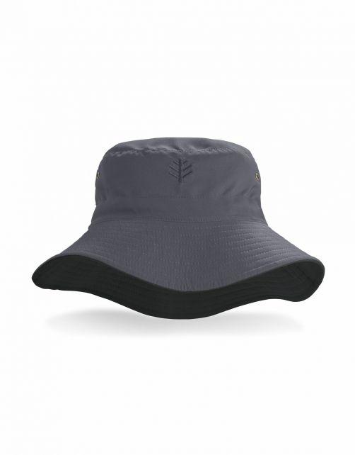 Coolibar---Omkeerbare-UV-Bucket-Hoed-voor-volwassenen---Landon---Carbon/Zwart
