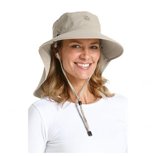 Coolibar---UV-zonnehoed-voor-dames-met-gezichtsmasker---Beige