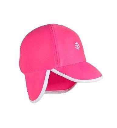 Coolibar---UV-zonnepet-voor-baby's-met-nekflap---Aloha-Roze/Wit