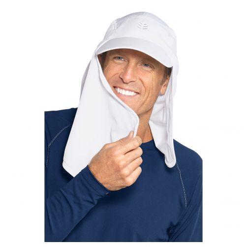 Coolibar---UV-zonnepet-voor-heren-met-gezichts--en-nekflap---Wit
