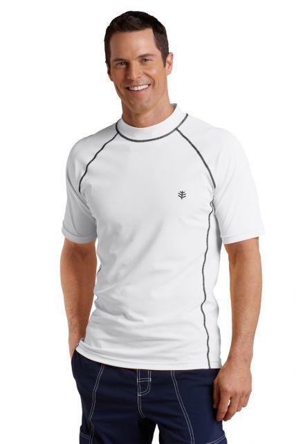 Coolibar---UV-zwemshirt-korte-mouwen-heren---Wit