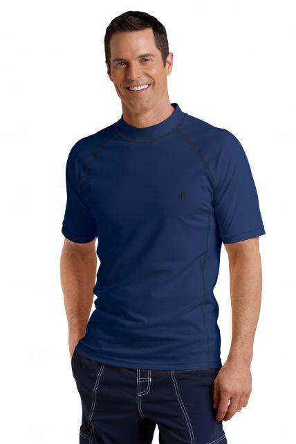 Coolibar---UV-zwemshirt-korte-mouwen-heren---Donkerblauw