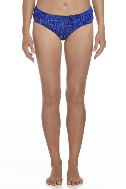 Coolibar---Dames-Ruche-zwem-Bikini-broekje---Blauw-bloemenprint