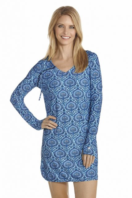 Coolibar---UV-Zwemjurk-dames---Blauw