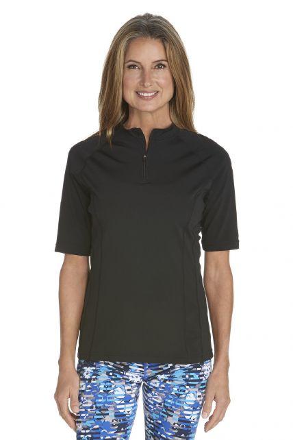 Coolibar---UV-zwemshirt-korte-mouwen-dames---Zwart