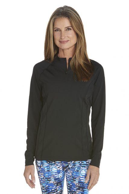 Coolibar---UV-zwemshirt-lange-mouwen-dames---Zwart