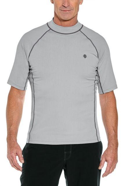 Coolibar---UV-beschermend-zwemshirt-korte-mouwen-heren---Mercury-grijs