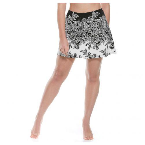 Coolibar---UV-Zwemrokje-dames---Zwart-Paisley-print