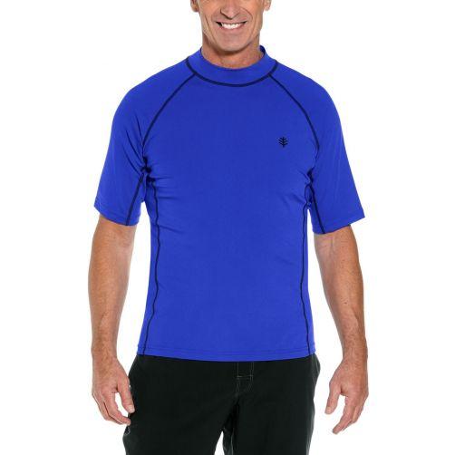 Coolibar---UV-beschermend-zwemshirt-korte-mouwen-heren---Cobalt-blauw
