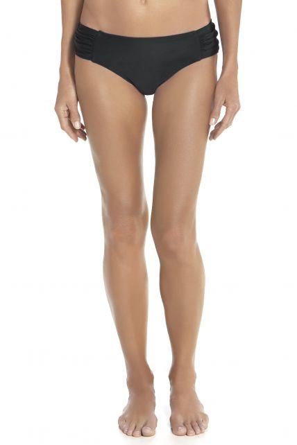 Coolibar---Dames-Ruche-zwem-Bikini-broekje---Zwart