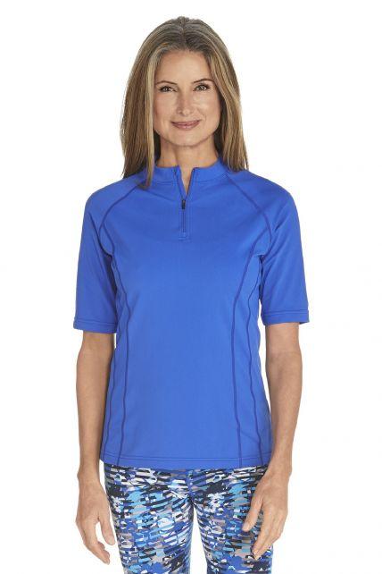 Coolibar---UV-zwemshirt-korte-mouwen-dames---Kobalt-blauw