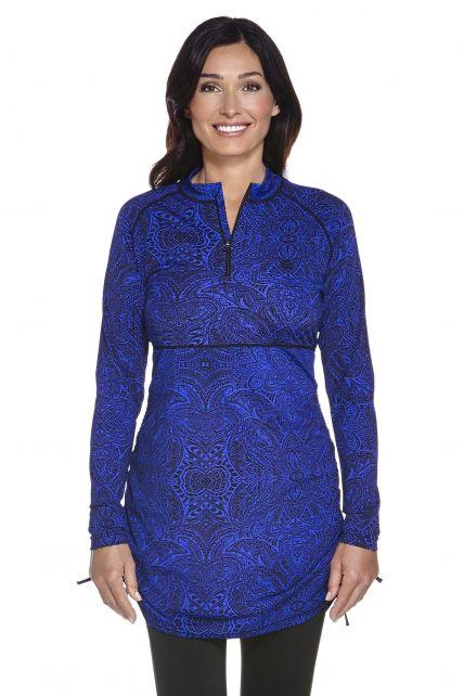 Coolibar---UV-tuniek-dames---Blauw-Floral-Motief