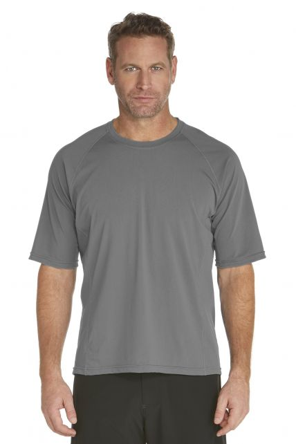 Coolibar---UV-zwemshirt-korte-mouwen-heren---grijs
