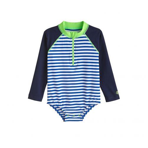 Coolibar---UV-badpakje-voor-baby's-met-lange-mouwen---Blue-Wave-Stripe