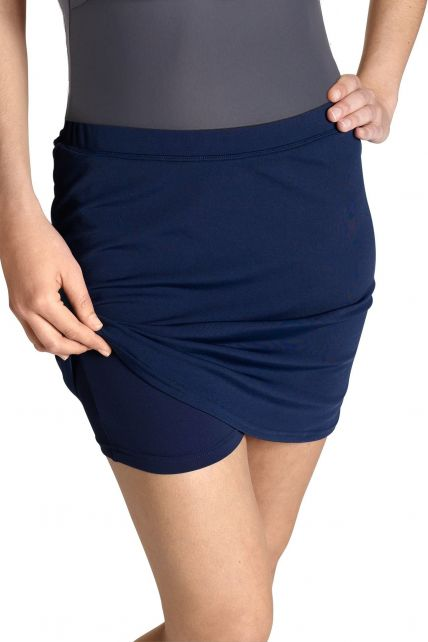 Coolibar---UV-zwemrok-met-broekje-dames---donkerblauw