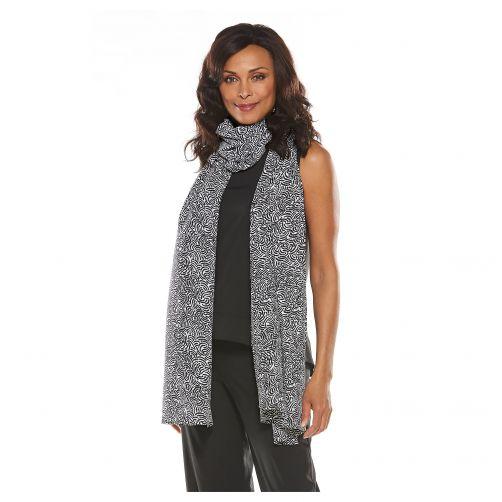 Coolibar---UV-sjaal-voor-dames---zwart-wit