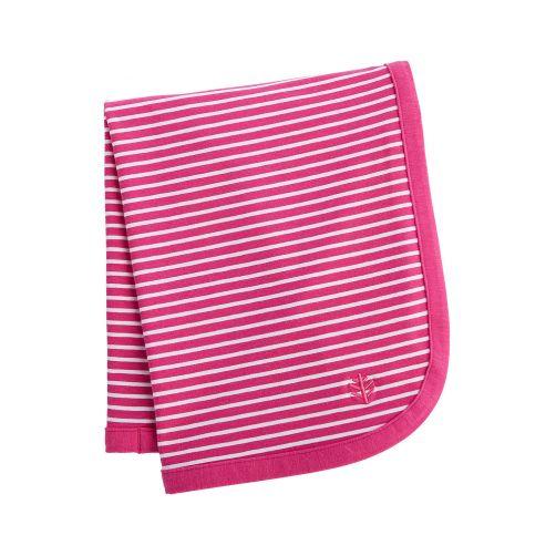 Coolibar---UV-deken-voor-baby's---magenta-wit-gestreept-