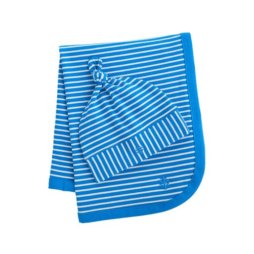 Coolibar---UV-mutsje-en-deken-voor-baby's---blauw-wit-gestreept