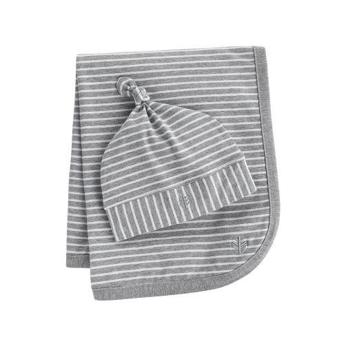 Coolibar---UV-mutsje-en-deken-voor-baby's---grijs-wit-gestreept