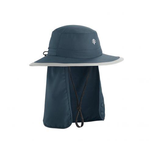 Coolibar---UV-werende-Hoed-met-verbergbare-nekflap-voor-kinderen---Boating---Donkerblauw