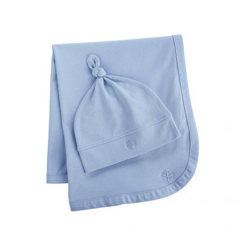 Coolibar---UV-mutsje-en-deken-voor-baby's---lichtblauw