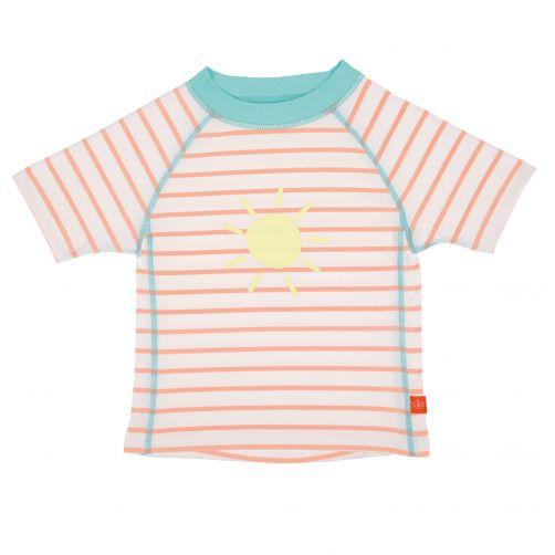 Lässig---UV-werend-zwemshirt-kinderen-Gestreept---Wit/Perzik/Blauw