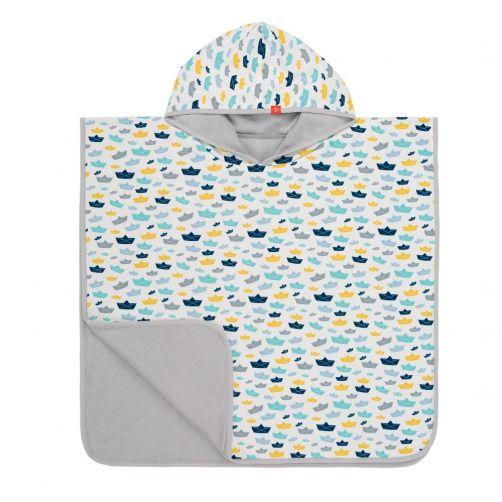 Lässig---Badcape-met-capuchon-voor-kinderen---Wit/Blauw/Geel
