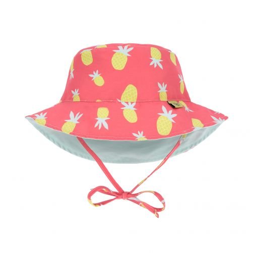 Lässig---UV-hoed-meisjes-omkeerbaar---ananas---koraal-lichtblauw