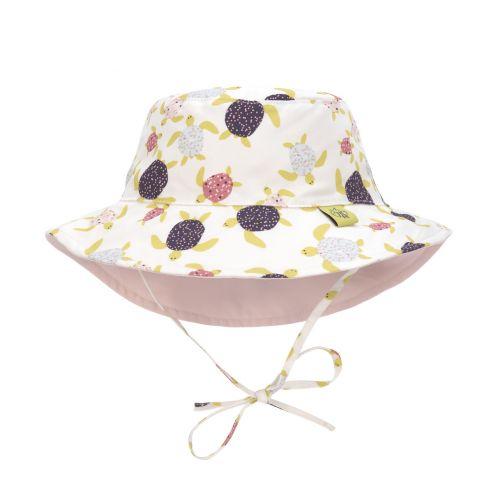 Lässig---UV-hoed-voor-meisjes-omkeerbaar---schildpadden---wit-roze