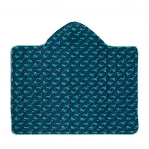 Lässig---Handdoek-met-capuchon-voor-kinderen-Blue-Whale---Blauw/Wit