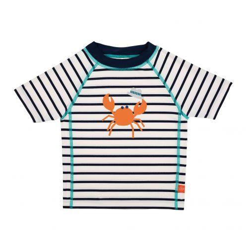 Lässig---UV-werend-zwemshirt-Gestreept-Crabe---Wit/Donkerblauw