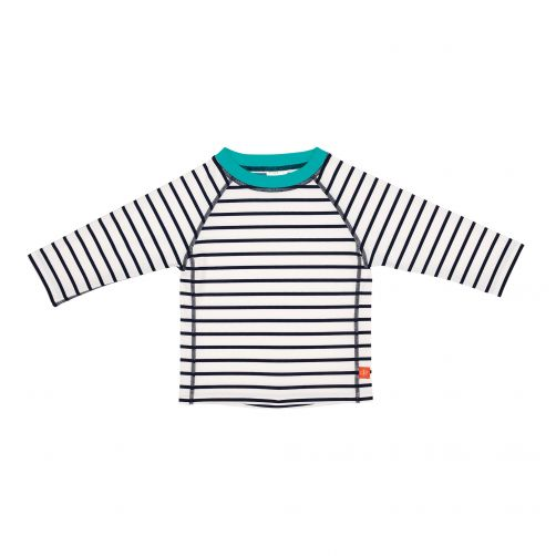Lässig---UV-werend-zwemshirt-voor-kinderen-Gestreept---Wit/Donkerblauw