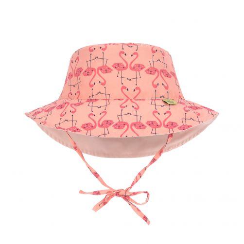 Lässig---UV-hoed-voor-meisjes-omkeerbaar---flamingo---perzik-roze
