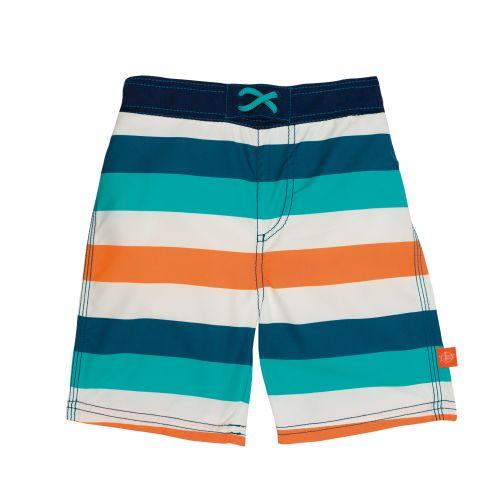 Lässig---Zwemshort-voor-jongens-Gestreept---Wit/Blauw/Perzik