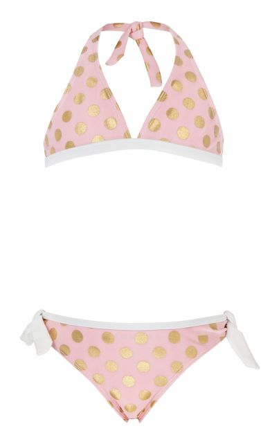 Snapper-Rock---Bikini-voor-meisjes---Ballet-Roze-&-Goude-stippen-