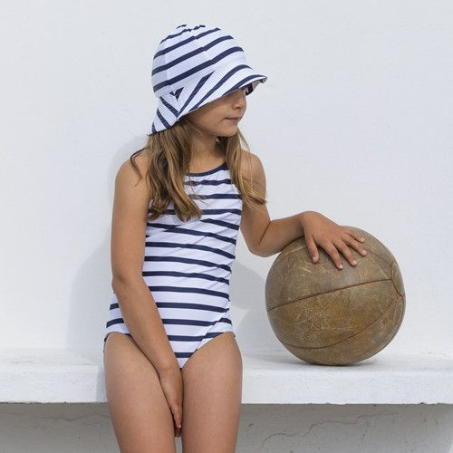 Petit-Crabe---UV-werend-badpak---Gestreept---Wit/Donkerblauw