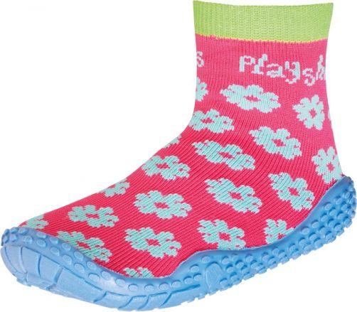 Playshoes---Zwemsokken-voor-meisjes---Bloemenprint---Roze-/-blauw