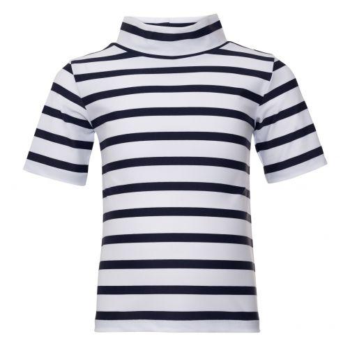 Petit-Crabe---UV-werend-shirt-korte-mouwen-en-brede-col---Gestreept---Wit/Donkerblauw